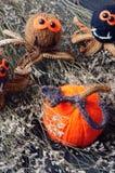 Halloween background, handmade, pumpkin, spider, october Royalty Free Stock Photos