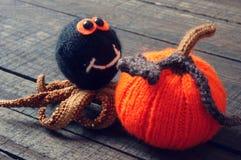 Halloween background, handmade, pumpkin, spider, october Stock Photography
