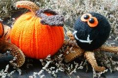 Halloween background, handmade, pumpkin, spider, october Stock Photos