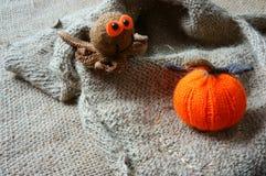Halloween background, handmade, pumpkin, spider, october Stock Images