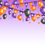 Halloween background with hanging flags and balloo Stock Photography