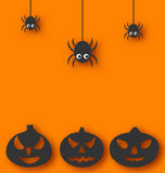 Halloween background with hanging spiders and pump. Illustration Halloween background with hanging spiders and pumpkins - vector Stock Image