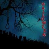 Halloween background with hangman noose text and graveyard. Halloween Background with Tree Hangman Noose Text and Graveyard Stock Images