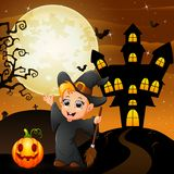 Halloween background with happy boy witch holding broomstick pumpkin Stock Photography