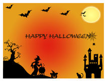 Halloween background. Happy Halloween with horror pumpkin and witch background Stock Images