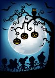 Halloween background with happy kids silhouette wearing Halloween costume Royalty Free Stock Photography