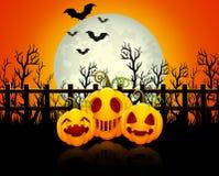Halloween background with happy pumpkins Stock Image