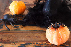 Halloween background: hat of witch, pumpkins, spider Royalty Free Stock Photography