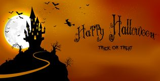 Halloween  background haunted castle in scary on night Royalty Free Stock Images