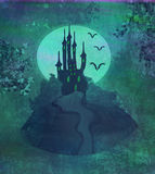 Halloween background with haunted house. Grungy Halloween background with haunted house Stock Photo