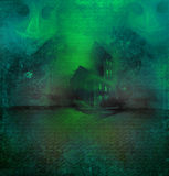 Halloween background with haunted house. Grungy Halloween background with haunted house Stock Photos