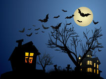 Halloween background with haunted house, bats and. Pumpkin Royalty Free Stock Image