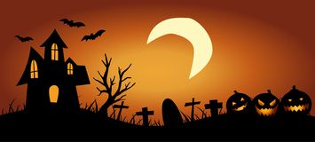 Halloween Background with haunted house stock image