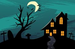 Halloween Background with haunted house Stock Photography