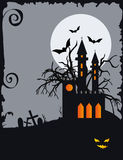 Halloween background with haunted house Stock Photos