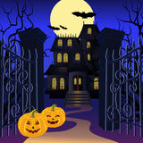 Halloween background. With haunted house and pumpkin. Vector illustration Royalty Free Stock Images