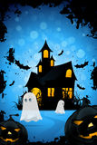 Halloween Background with Haunted House, Pumpkins and Ghosts Stock Photo