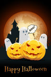 Halloween Background with Haunted House, Pumpkins and Ghosts Stock Photos