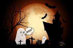 Halloween Background with Haunted House, Pumpkins and Ghosts Stock Image