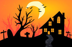 Halloween Background with haunted house Royalty Free Stock Photography
