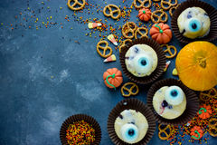 Halloween background healthy sweets and treats for kids, funny o Royalty Free Stock Photography