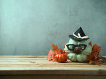 Halloween background with hipster pumpkin Royalty Free Stock Photography