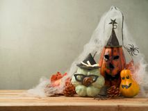 Halloween background with hipster pumpkin Stock Photos