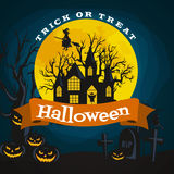 Halloween background. Horror forest with woods, spooky tree, pumpkins and cemetery. Royalty Free Stock Photography