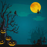 Halloween background. Horror forest with woods, spooky tree, pumpkins and cemetery. Stock Photos