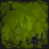 Halloween background. Horror forest with woods, spooky tree, pumpkins and cemetery. Royalty Free Stock Photos
