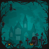 Halloween background. Horror forest with woods, spooky tree, pumpkins and cemetery. Royalty Free Stock Photo