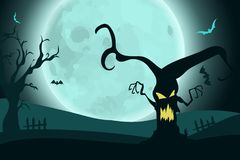 Halloween background with horror scary tree on landscape in moonlight. Stock Image
