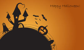 Halloween background with house and bats vector illustration. Halloween background black and orange colors, with house and bats vector illustration Stock Images