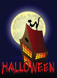 Halloween background with house, cat and the moon. Vector illustration Royalty Free Stock Photo