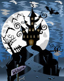 Halloween Spooky Ghost Castle Background Stock Photos