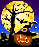 Halloween Pumpkin Witch Hat Background Stock Images