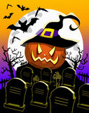 Halloween Background Pumpkin Witch Hat Cemetery. Illustration featuring halloween background with halloween pumpkin at cemetery with bats full moon and graves Stock Images