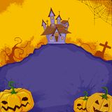 Halloween Background. Illustration of pumpkin with haunted house in halloween background Stock Photo