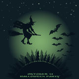 Halloween background. image of flying over the forest witch on a broomstick and bats. On a background of the moon. vector Royalty Free Stock Photo