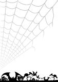 Halloween background. Halloween invitation black and white background with spider web Royalty Free Stock Photography