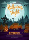 Pumpkins, graves and full moon. Halloween party flyer vector illustration