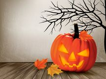 Halloween background with a Jack 'O Lantern. Royalty Free Stock Photo
