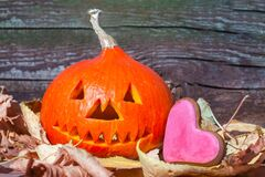 Halloween background.Jack.Halloween pumpkin head jack lantern on wooden background