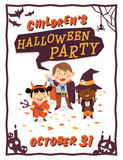 Halloween background with kids in Halloween costumes Royalty Free Stock Images