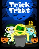 Halloween background with kids trick or treating. In Halloween costume Stock Photo