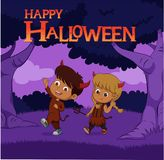 Halloween background with kids trick or treating in Halloween co Royalty Free Stock Photo