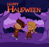 Halloween background with kids trick or treating in Halloween co Stock Image