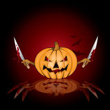 Halloween background with killer pumpkin Stock Photo