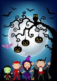 Halloween background with little kids wearing Halloween costume Royalty Free Stock Images