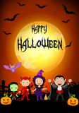 Halloween background with little kids wearing Halloween costume Royalty Free Stock Photography